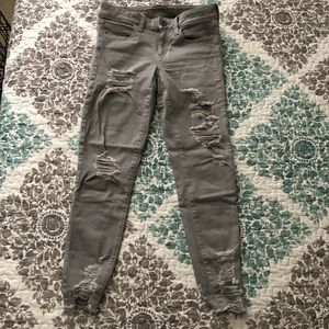 AEO Distressed Gray Jegging